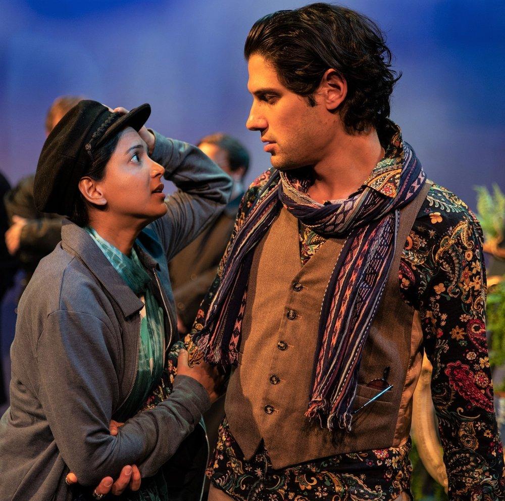 Alyssa Diamond as Viola (disguised as Cesario) and Jonathan Reed Wexler as Orsino in  Twelfth Night . Top: A priest (Shashwat Gupta, left) marries Sebastian (Kyle Primack) and Olivia (Karoline Patrick).