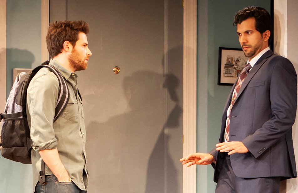 Nick (Ben Rappaport, left) and Frank (Gabriel Sloyer) balance a fragile friendship. Top, Nick and Frank with Rachel (Mairin Lee, left) and Molly (Keren Lugo).