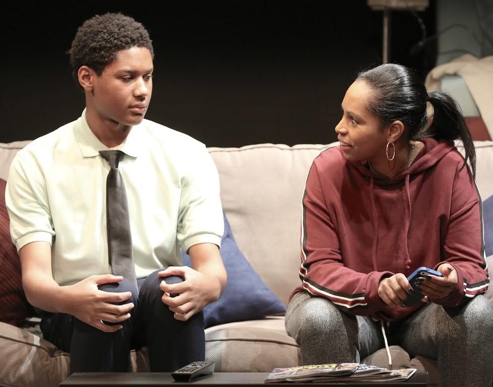 Mazyck with Sarita Covington as Alneesa, Tino's abusive aunt. Photographs by Carol Rosegg.