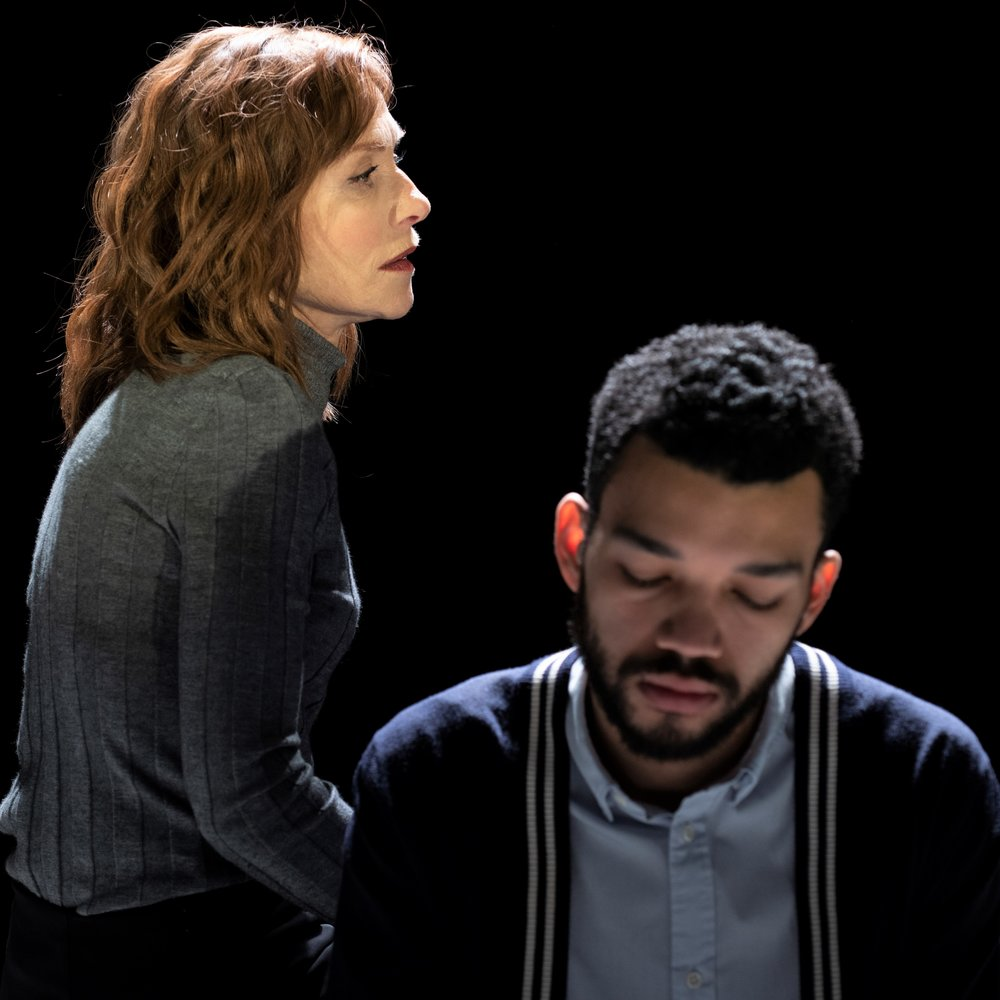 Isabelle Huppert (left) plays Anne, the mother of Nicolas (Justice Smith) in Florian Zeller's  The Mother.  Top: Huppert with Chris Noth as her husband, David.