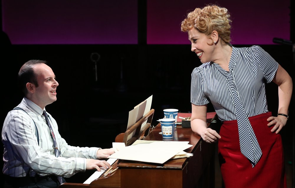 Andréa Burns (right) as Judy Holliday and Jonathan Spivey as Leonard Bernstein in Willy Holtzman's  Smart Blonde  at 59E59 Theaters. Top: Burns as Holliday and Mark Lotito as David Oppenheim.