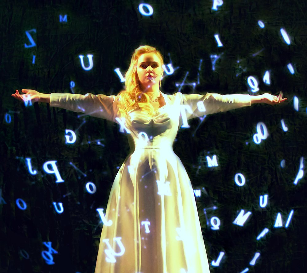 Doreen Taylor inside a holographic bubble in  Sincerely, Oscar . Top: Taylor sings with Azudi Onyejekwe.
