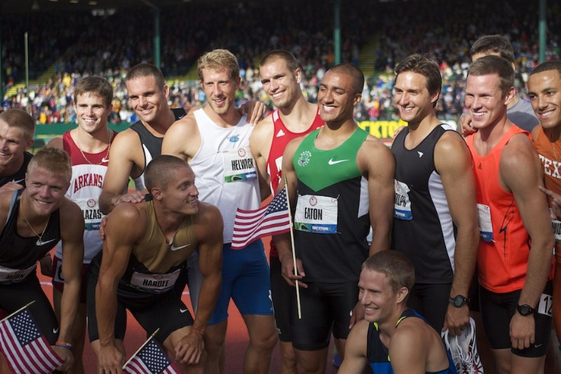 Decathletes gathering for a photo after the 2012 US Olympic Trials in Eugene, OR