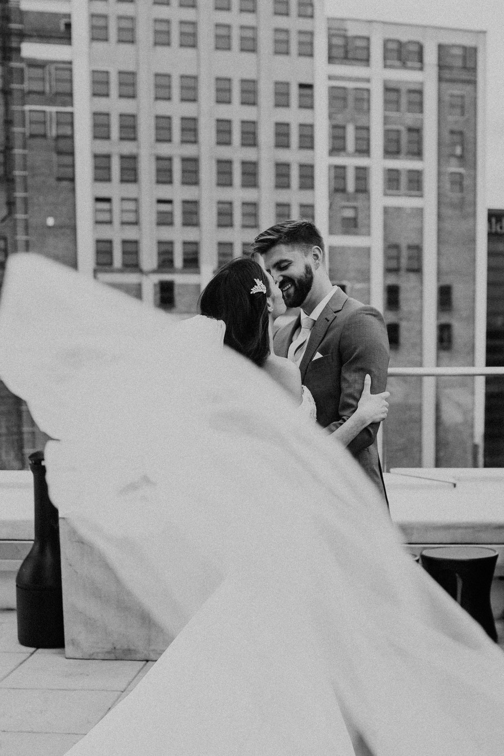 wedding on a rooftop in cleveland ohio