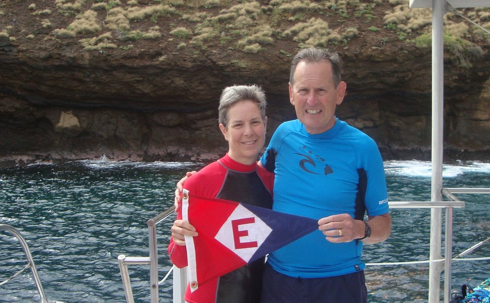 Gary and Jane Powell on a snorkeling trip in Mokolini Crater, Maui.