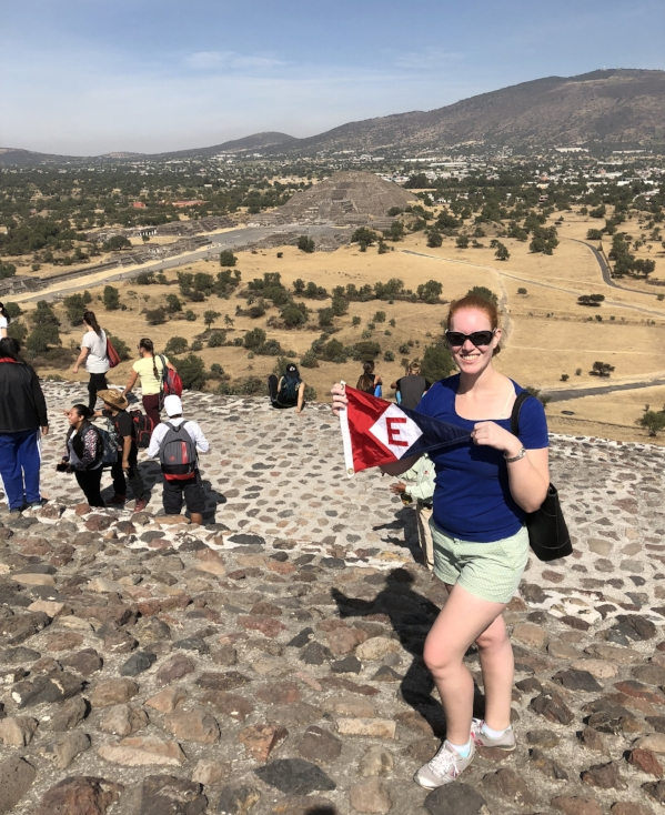 Sara Goetze (daughter of Gary and Jane Powell) shows the colors at the Temple of the Sun near Mexico City.