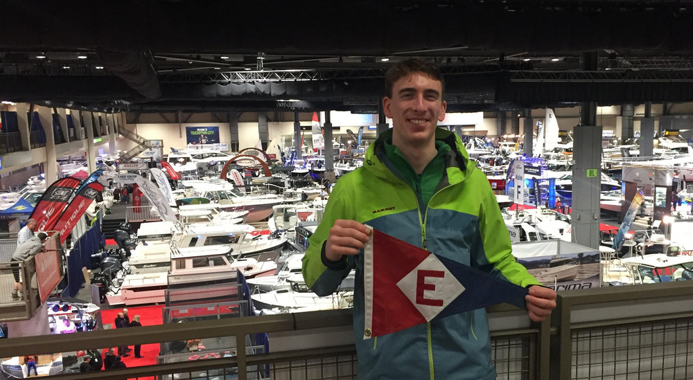 Langdon Junge shows his colors at this year's Seatle Boat Show.