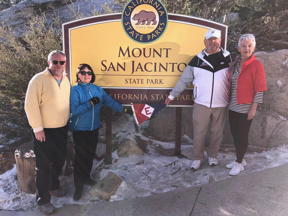 Richard & Marie Johnson and Rex & Bonnie Ballenger show their colors at the top of Mount San Jacinto, CA.