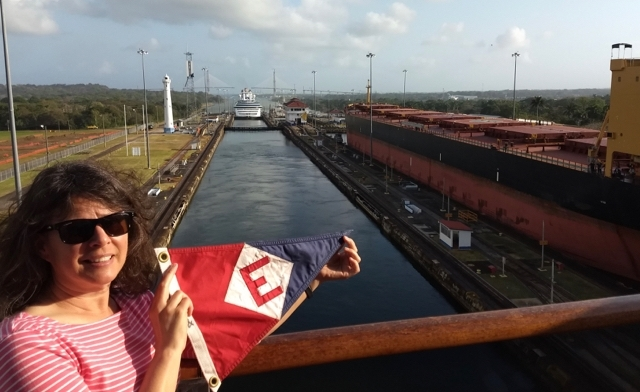 The EYC burgee makes a trip through the Panama Canal with Karen Nousen.