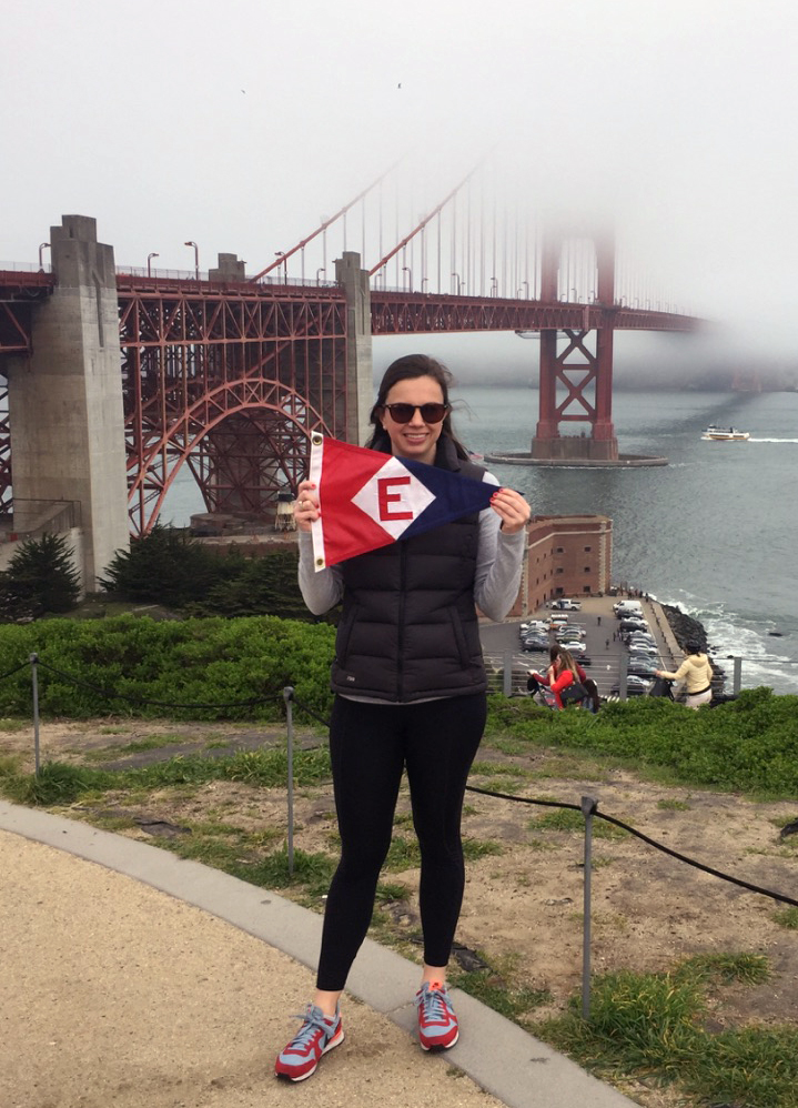 Andrea Powell, daughter of Bill & Nadine Powell, shows the EYC colors in foggy San Francisco. CA.