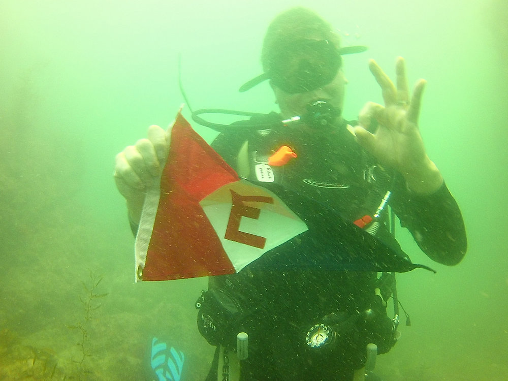 Rob Moline checking to see if the EYC burgee is waterproof in the Sea of Cortez, Mexico.