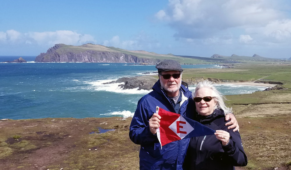 Murray and Linda McLeod show their colors on the Dingle Peninsula in western Ireland.