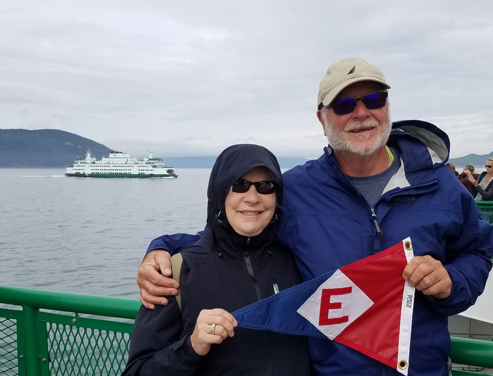 Linda and Murray McLeod on the ferry from Anacortes to San Juan Island
