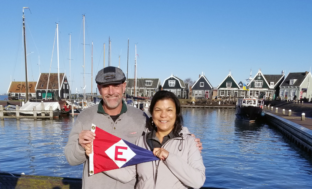 Ken & Tina Hoffman hoist the colors in Marken, The Netherlands.