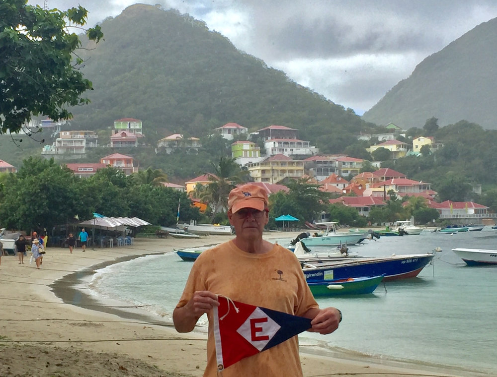Bob Swangard shows his EYC pride in Terre de Haut, Iles de Saintes in the Carribean