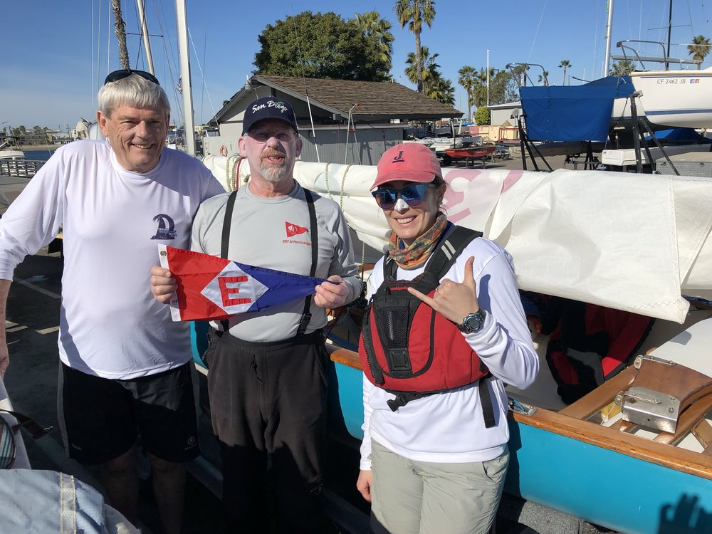 Evert, Chip, and Amanda hoisted the EYC burgee at this year's Thistle MidWinters West