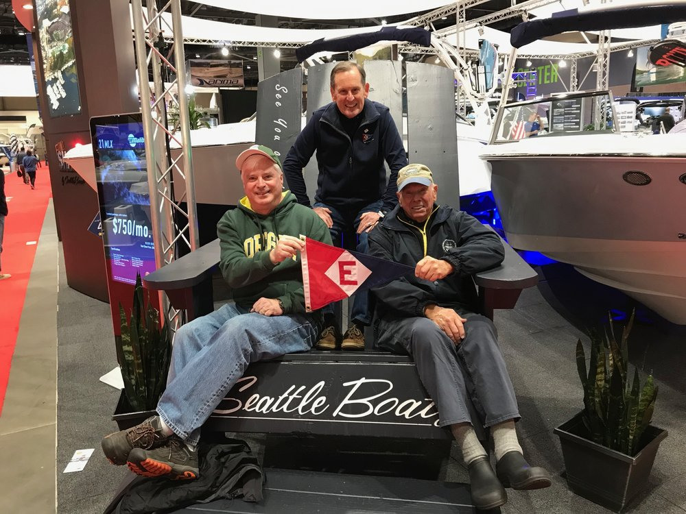 Rich Aaring, Gary Powell, and Bill Powell at the Seattle Boat Show