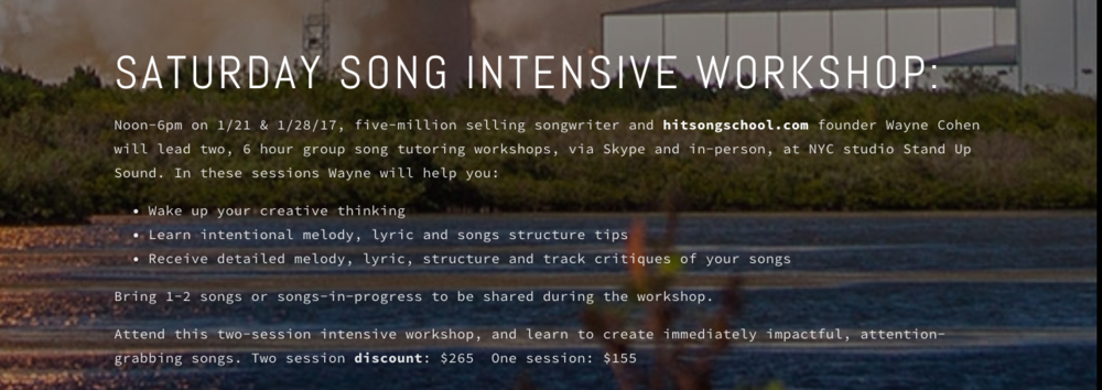 Saturday song intensive workshop — Hit Song School