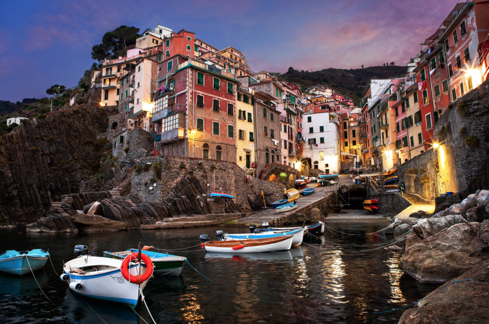 The village of Riomaggiore at dusk