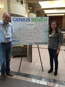 "2015 BWH digital health Hackathon ""Genius Bench"" mentors give advice to weekend ""hackers."""
