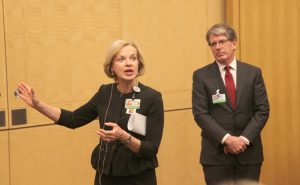 Betsy Nabel, MD, president of Brigham and Women's HealthCare, speaks at a BWH town hall with Ron Walls, MD, chief operating officer of BWH.