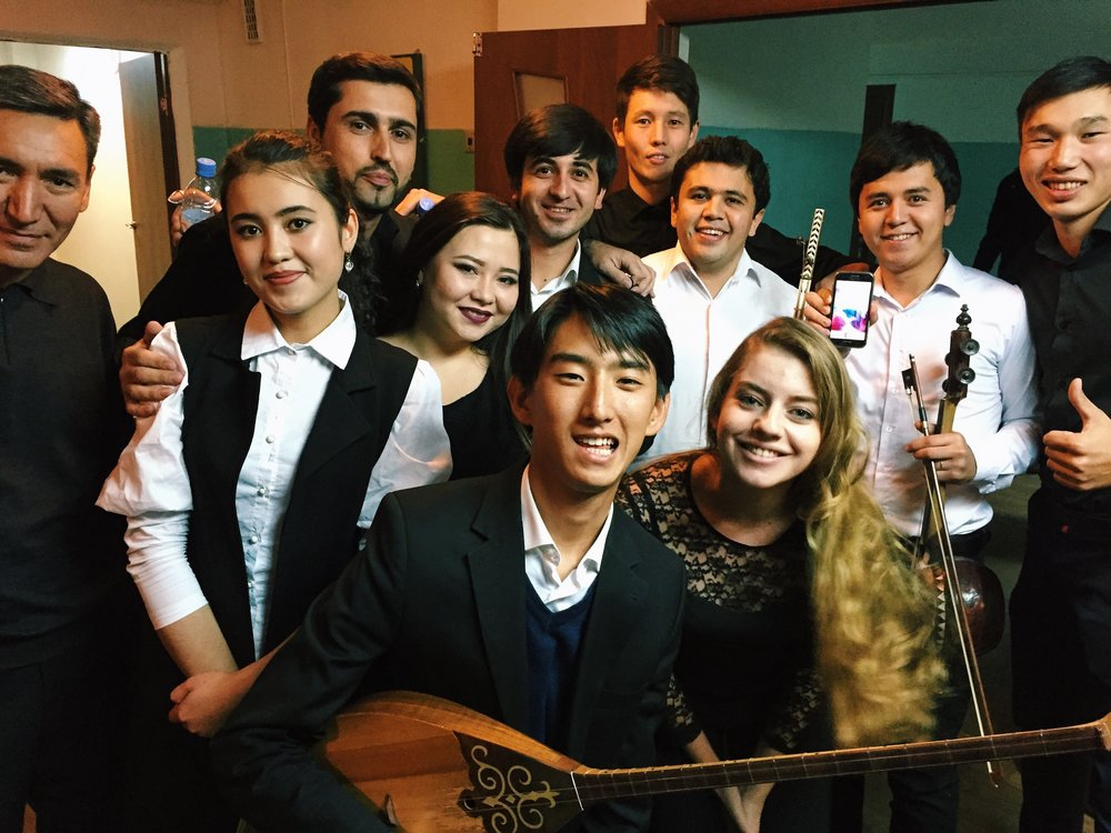 Part of the ensemble before the concert in Almaty, Kazakhstan.