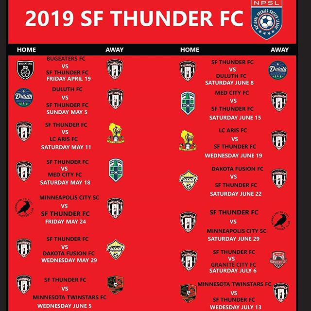 Our regular season schedule is here, so make plans to join us for another exciting season in 2019! We have a lot of great news coming! @npslsoccer @npsl_north