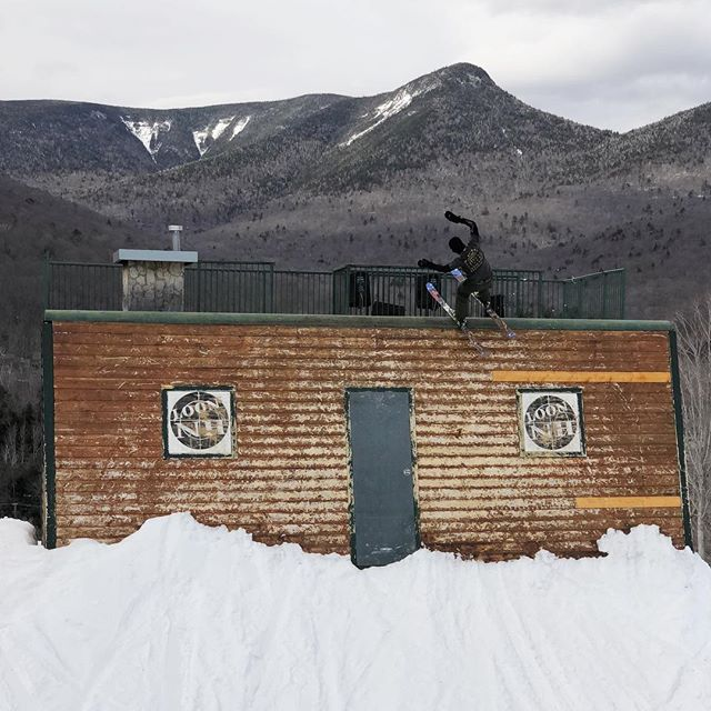 """R.I.P. to the @loonparksnh wallride, and also HG Skis. Just dropped """"voilà"""" on @newschoolers featuring one of the last clips from this legendary wallride, along with other smooth skiing from @alexhackel & @pasta_sawce"""