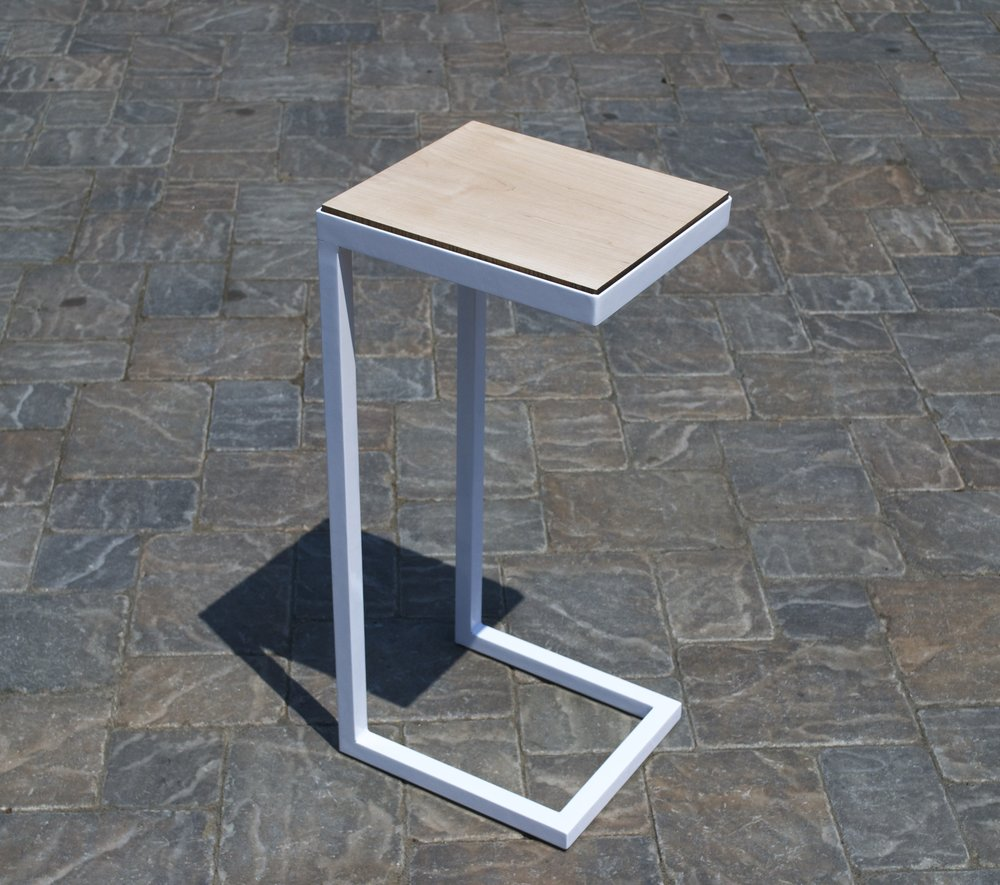 Side Table Steel square-tube & angle-bar, white powder-coat finish.  Maple hardwood.