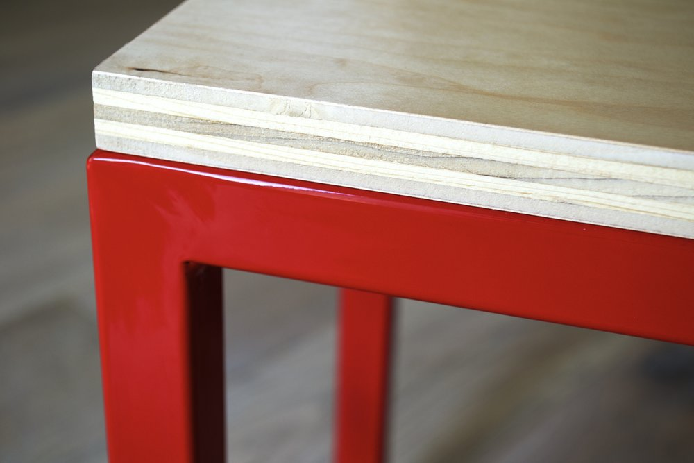 Small Bench Steel square-tube, red powder-coat finish.  Birch plywood.