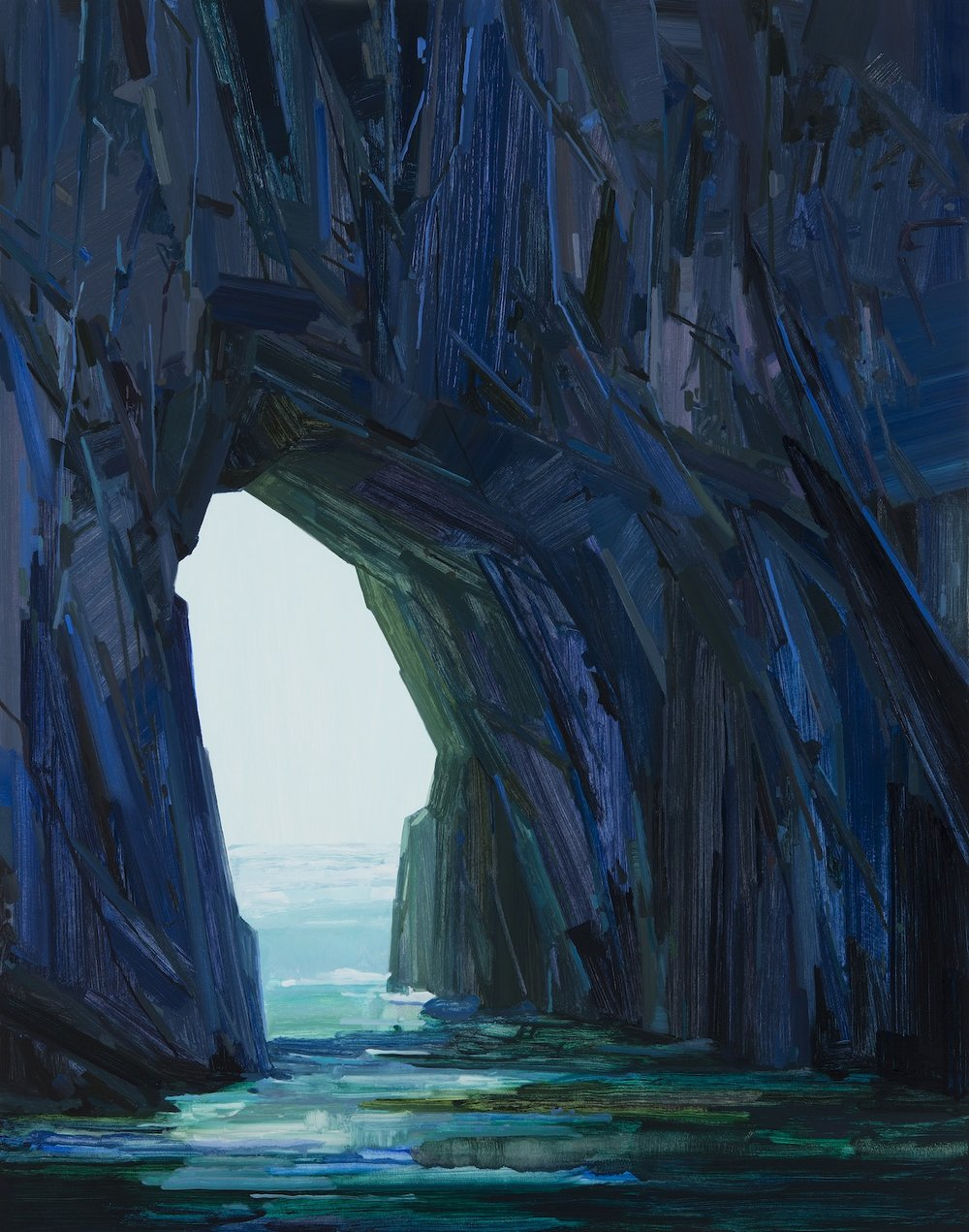 Sea Cave , 2016, Oi on canvas, 84 x 66""