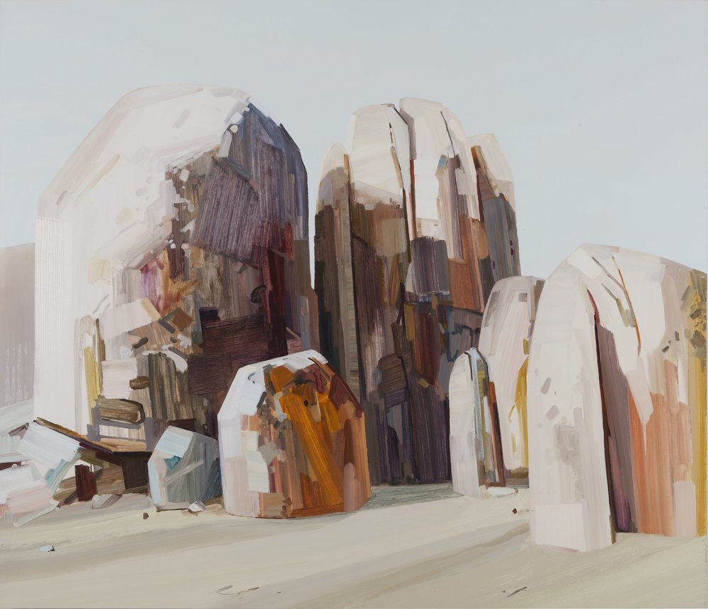 Boulders,  2012, Oil on canvas, 78 x 90""