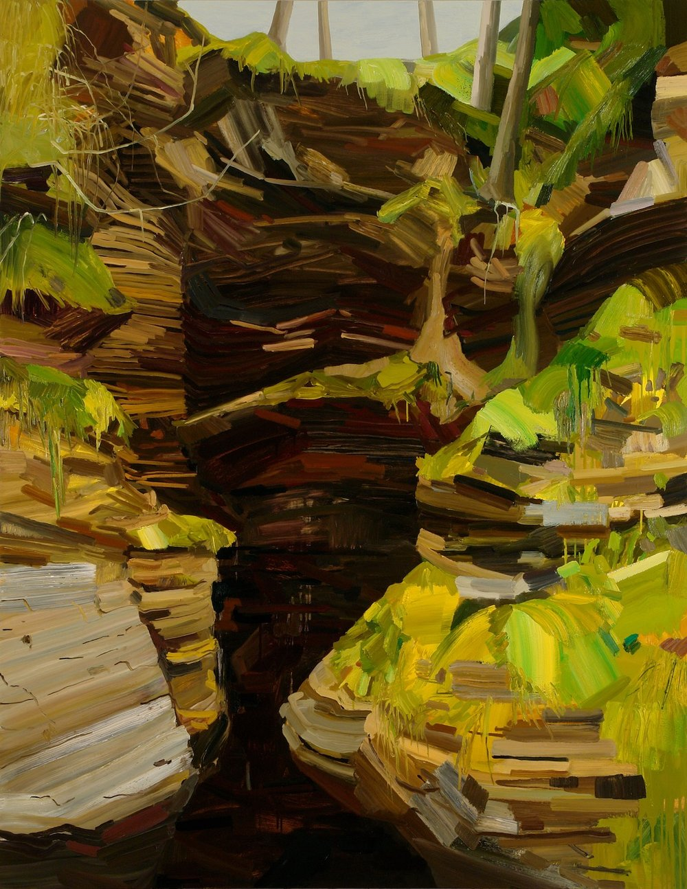 Crevice, 2008, Oil on canvas, 108 x 84""