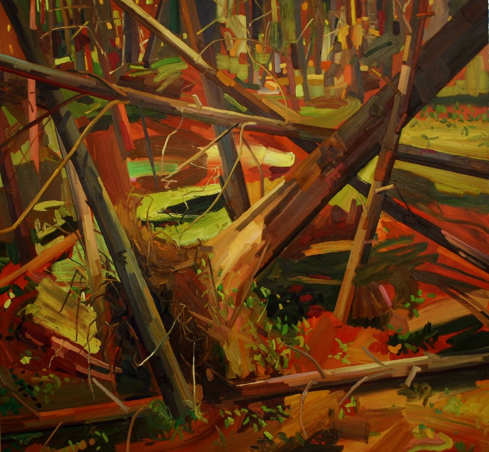 Pine Trees, 2007, Oil on canvas, 78 x 84""