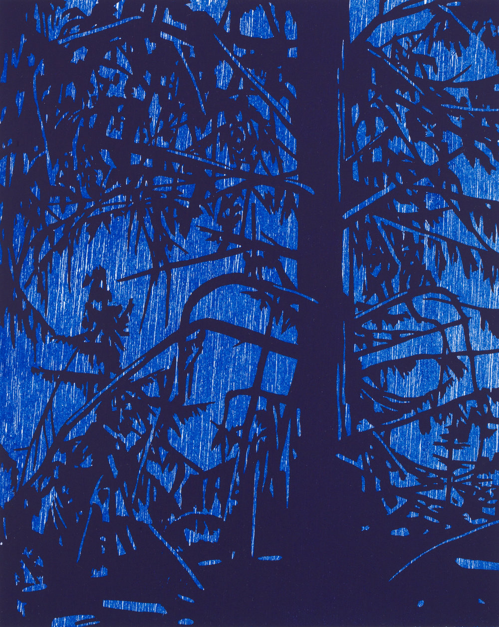 Tree and Night, 2018, Color Woodblock, Ed. 15, Image Size 10x8""