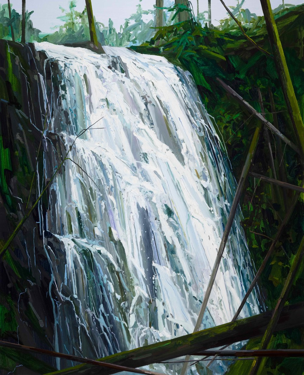 Waterfall, 2019, Oil on canvas, 96x78""