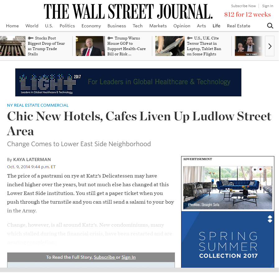 CHIC NEW HOTELS, CAFES LIVEN UP LUDLOW STREET AREA