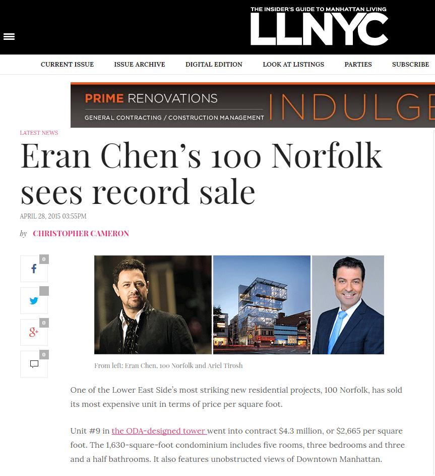 ERAN CHEN'S 100 NORFOLK SEES RECORD SALE