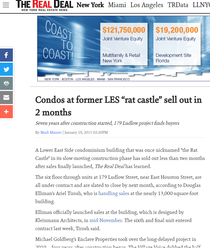 """CONDOS AT FORMER LES """"RAT CASTLE"""" SELL OUT IN 2 MONTHS"""
