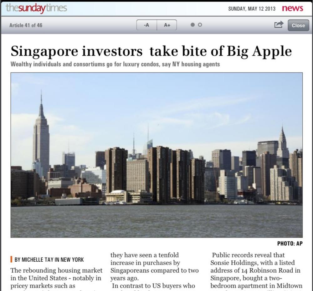 SINGAPORE INVESTORS TAKE BITE OF BIG APPLE