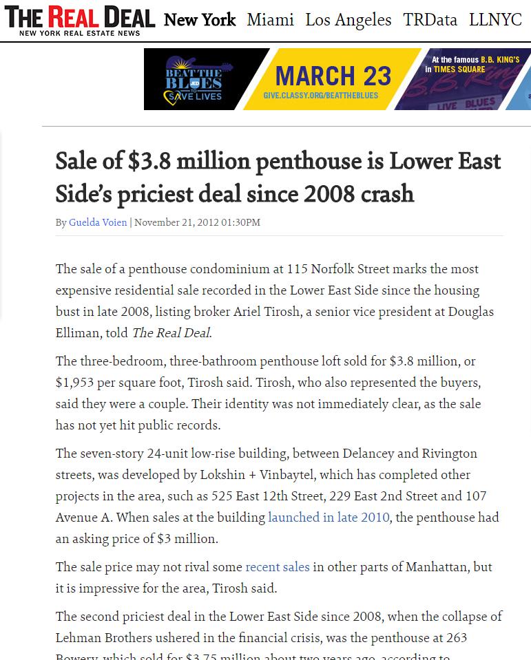 SALE OF $3.8 MILLION PENTHOUSE IS LOWER EAST SIDE'S PRICIEST DEAL SINCE 2008 CRASH