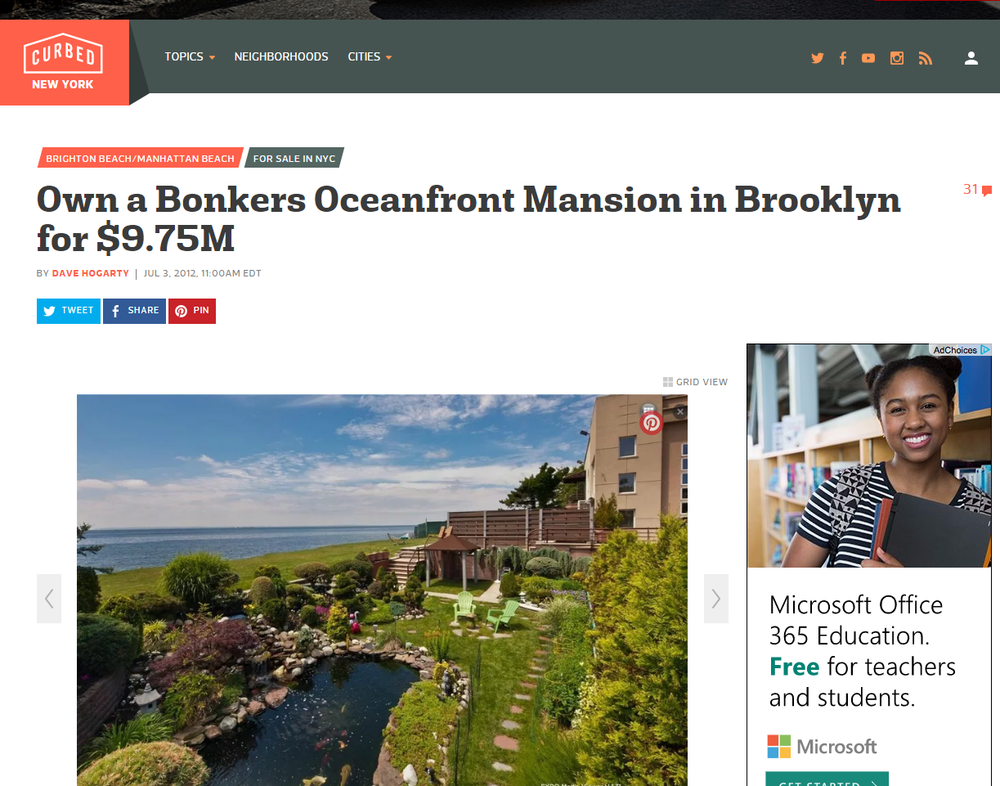 OWN A BONKERS OCEANFRONT MANSION IN BROOKLYN FOR $9.75M