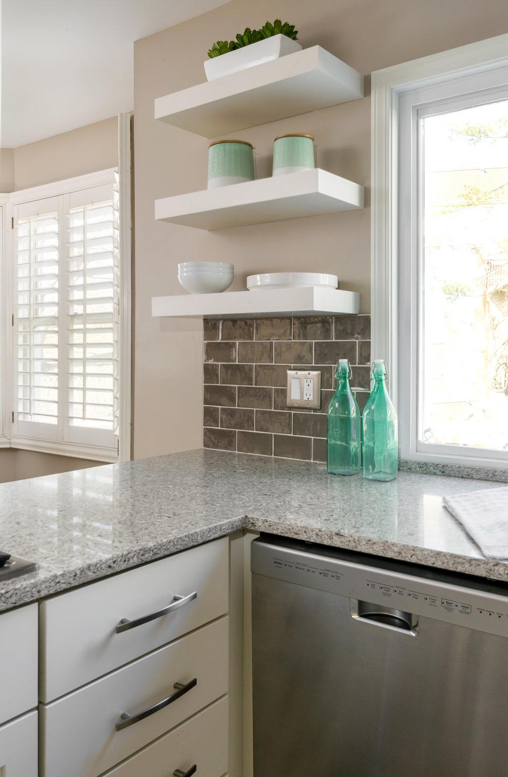 Kitchen Countertops and Modern Shelves