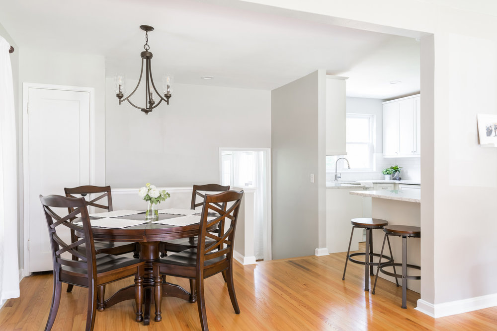 Full Dining Room with Dark Wood Table and Chairs