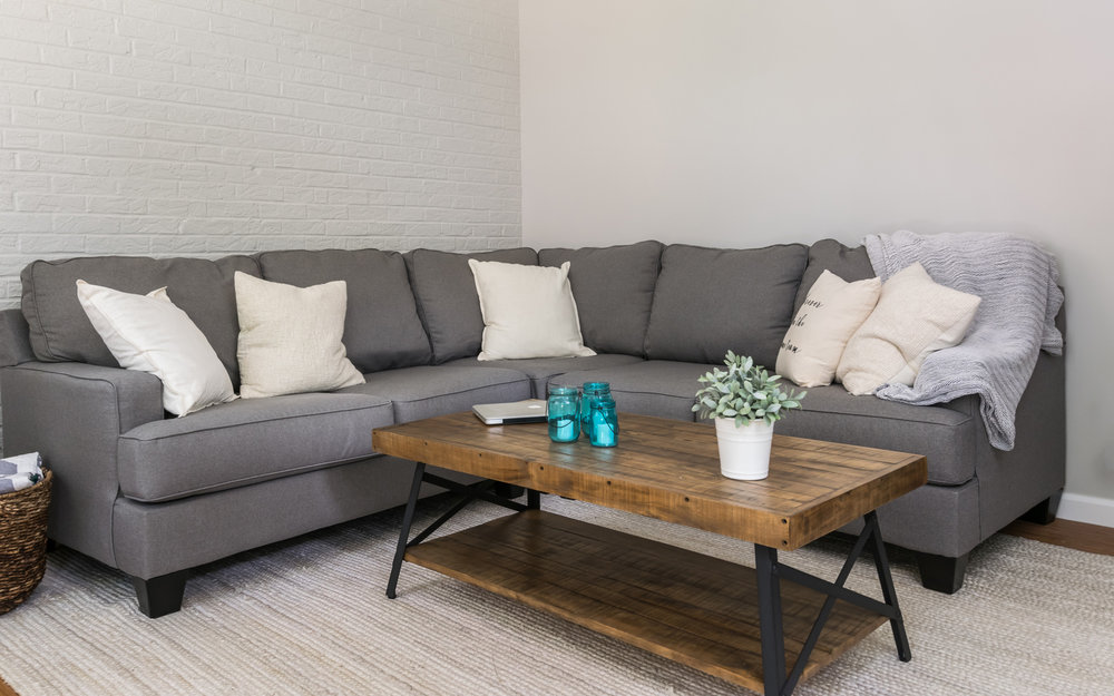 Living Room Charcoal Couch