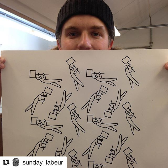 "Excited to be printing this repeatable pattern this week! #Repost @sunday_labeur ・・・ Today! Come print my ""Protest People"" pattern with @print.organize.protest at @porter_college !!! My Mom @janiepea and friend @littleisobel will be running the booth at JB Gallery from 4-6. Come out and feel the power of printing and get excited about May Day! #protestsigns #repeatablepatterns #inclusivesolidarity #mayday #serigraphy"