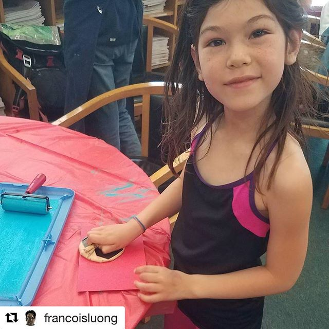 #Repost from P.O.P. Contributor @francoisluong ・・・ Block printing at Print Organize Protest @print.organize.protest