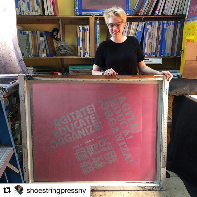 #Repost @shoestringpressny ・・・ Getting ready for @interferencearchive at Get Organized Brooklyn event on July 25. @perchancepress for scale. #bigprints @print.organize.protest #printorganizeprotest @jmacphee @justseeds #silkscreen #screenprinting