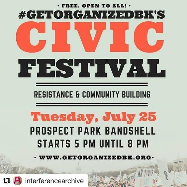 #Repost @interferencearchive ・・・ Interference Archive is going to be doing one of our killer Propaganda Parties at the #getorganizedbk Civic Festival next Tuesday! We're making buttons, handing out free posters (thanks to @amplifierfoundation!) and doing a huge screenprinting experiment with help from @shoestringpressny and @print.organize.protest !!! We're going to be 3-color printing on rolls of canvas with giant 4'x6' screens! Come out and help us print!!!