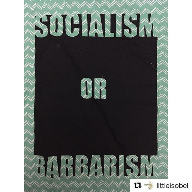#Repost @littleisobel ・・・ I printed a BUNCH of these colorful patches  for @print.organize.protest today during the Resist Fest. It stems from a quote from Rosa Luxemburg and points out that capitalism and imperialism are barbaric forms of society through their exploitation and destruction of the people. She points directly to the history of European imperialism as an early form of barbarism and says that we have a choice- to regress back into that barbaric form, or move forward into something greater- socialism. I've copied the Wikipedia text on this topic and posted it toward the end of the photographs. #printorganizeprotest